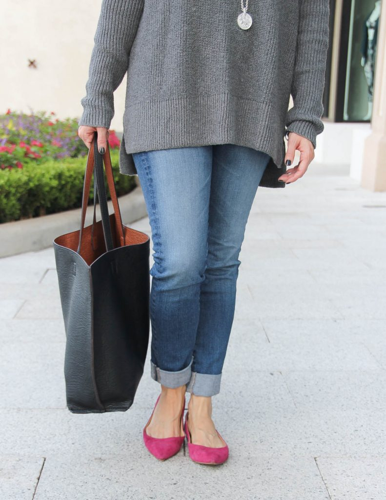Winter Outfit | Cuffed Blue Jeans | Pink Flats | Lady in Violet Fashion Blog