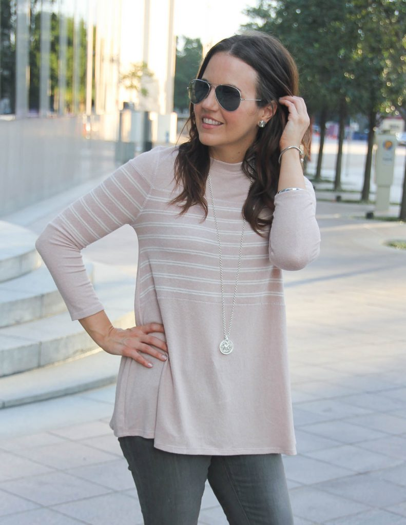 Cute Pink Sweater for Women | Coin Pendant Necklace | Lady in Violet Houston Fashion Blogger