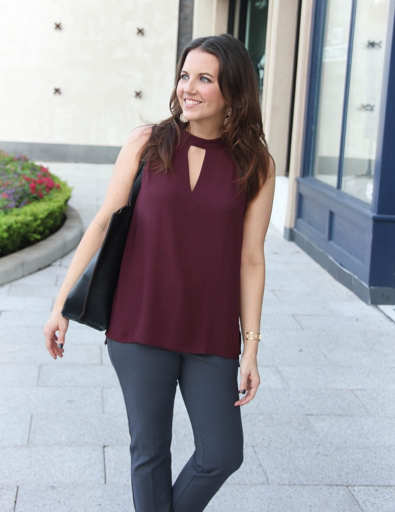 Fall Outfit | Burgundy Choker Top | Gray Work Pants | Houston Fashion Blogger Lady in Violet