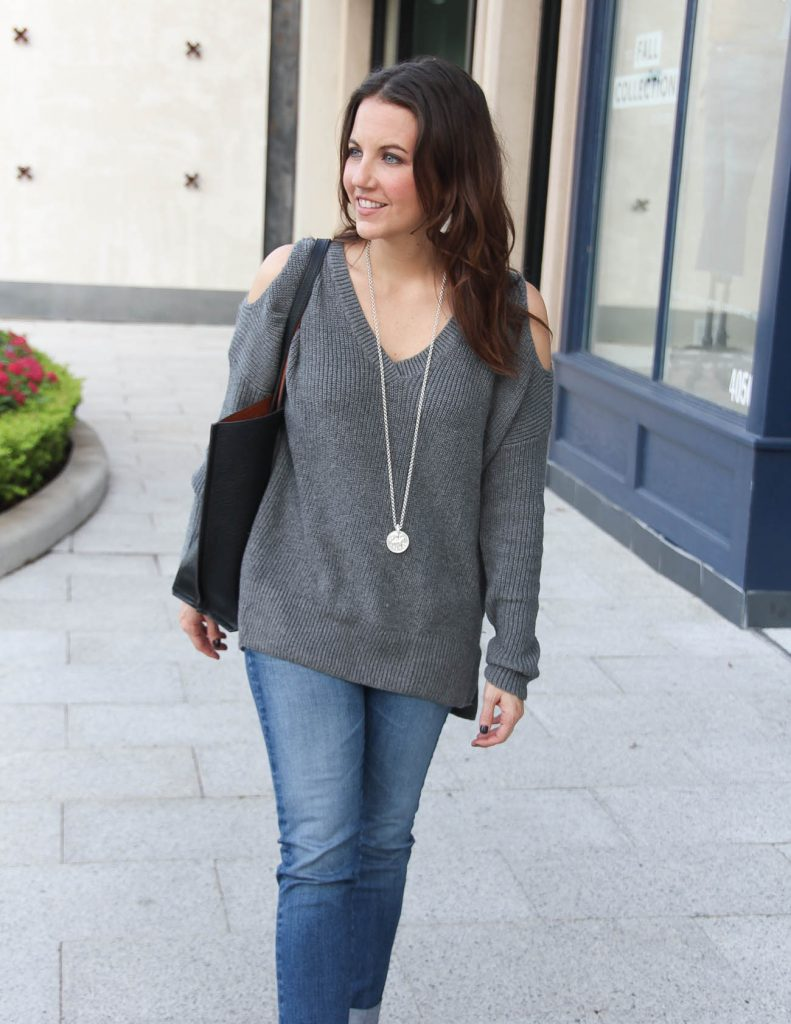 Fall Outfit | Gray Oversized Sweater | Long Silver Necklace | Houston Fashion Blogger Lady in Violet