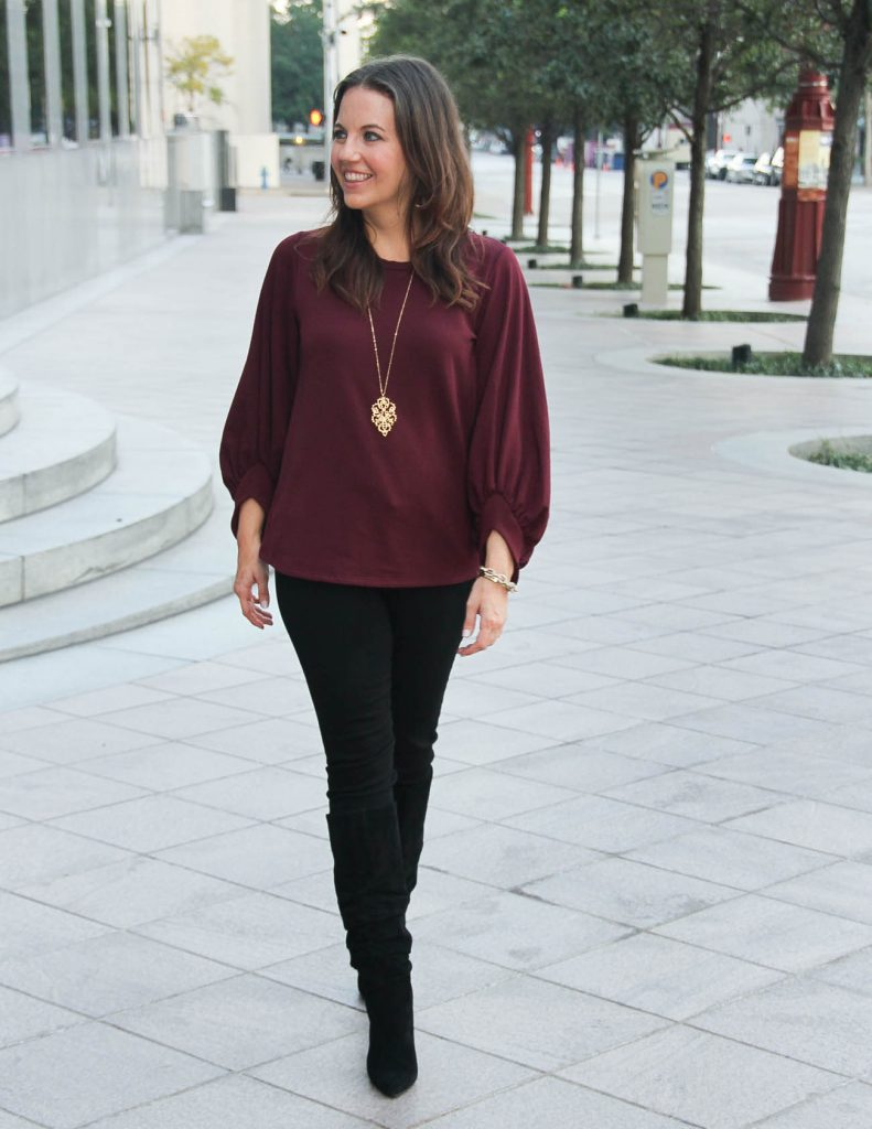 Holiday Party Outfit | Burgundy Sweater | Black Skinny Jeans | Houston Fashion Blogger Lady in Violet
