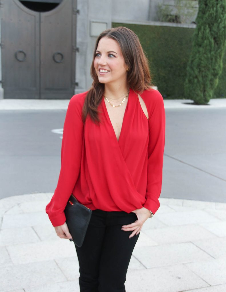 Holiday Party Outfit | Sexy Red Top | Gold Necklace | Lady in Violet Fashion Blog