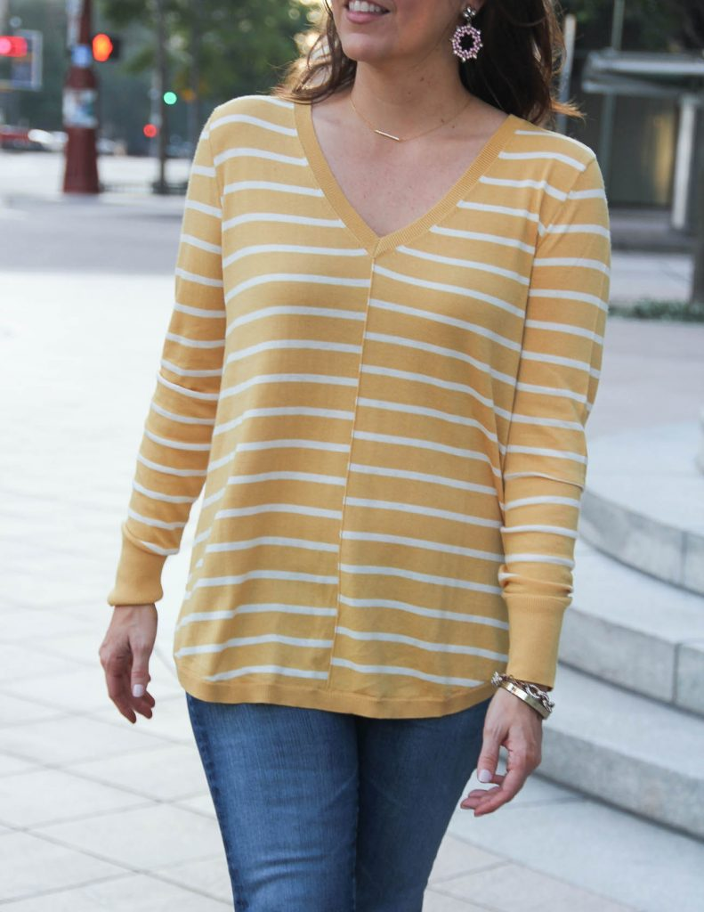 Lightweight Yellow Sweater for Fall | Baublebar Sugarfix Earrings | Lady in Violet Fashion Blog