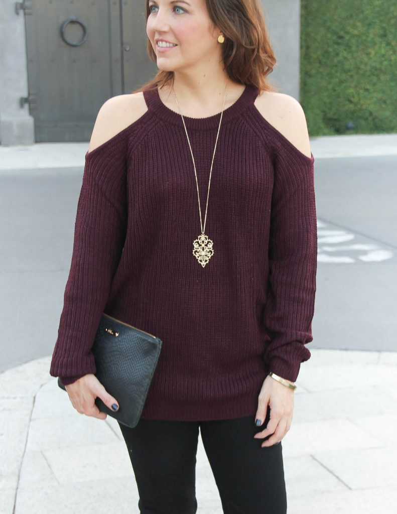 Winter Outfit | Cold Shoulder Sweater | Long Gold Necklace | Houston Fashion Blogger Lady in Violet