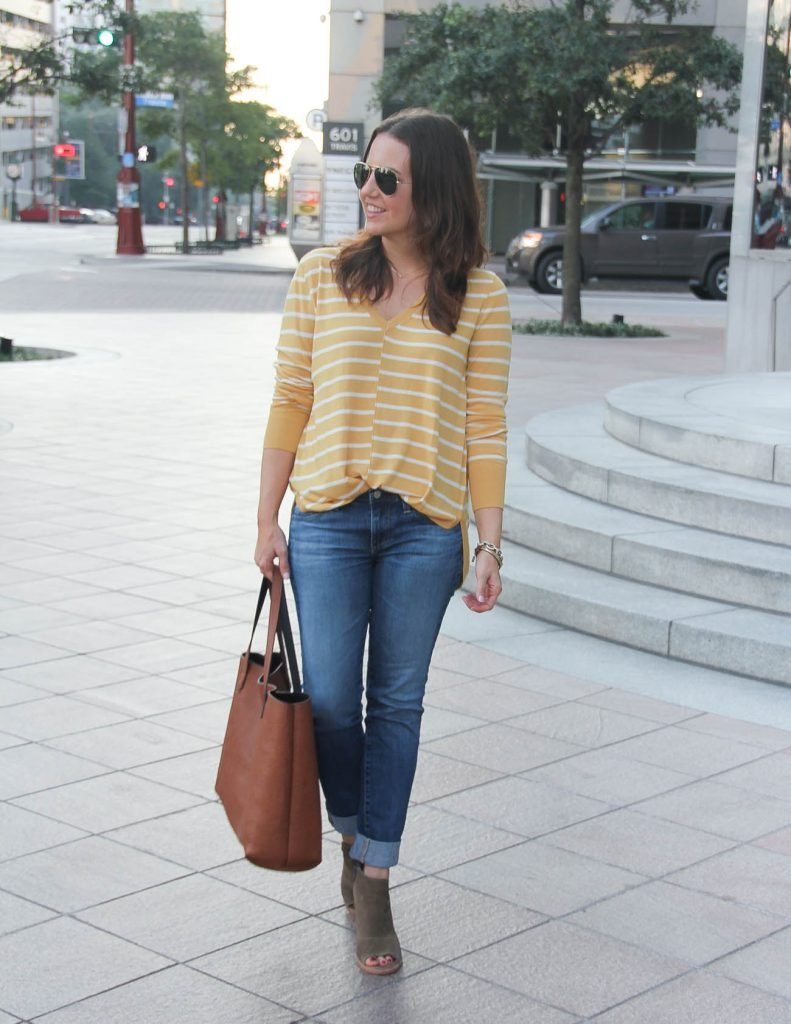 Fall Casual Outfit | Yellow Sweater | Cuffed Jeans | Houston Fashion Blogger Lady in Violet