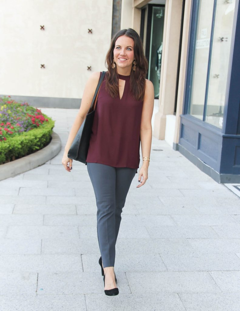 Fall Outfit Idea | Burgundy Blouse | Dark Gray Work Pants | Lady in Violet Fashion Blog