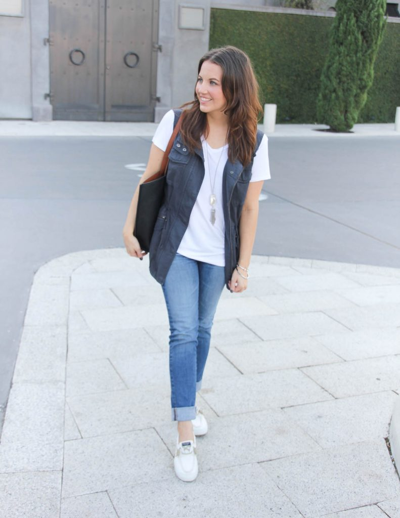 Fall Outfit Idea | White Tshirt and Jeans | Houston Fashion Blogger Lady in Violet
