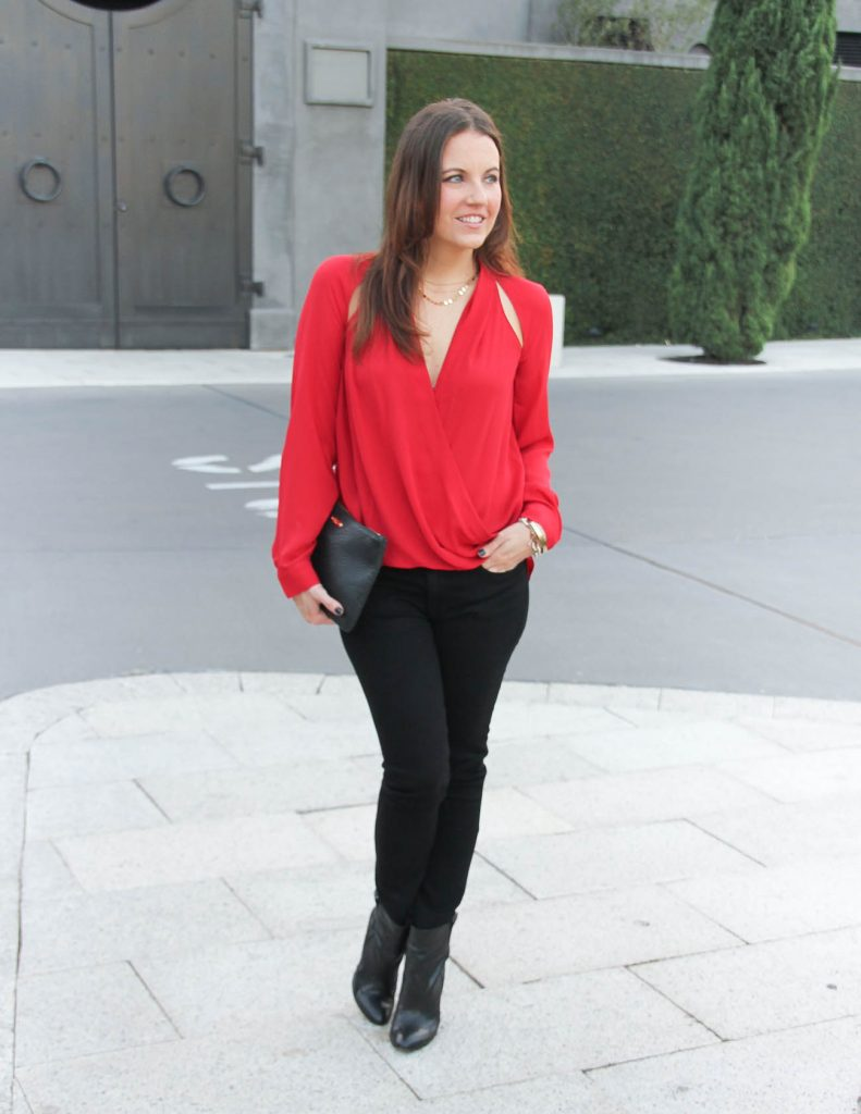 Fall Outfit | Red Deep V Blouse | Black Skinny Jeans | Houston Fashion Blogger Lady in Violet