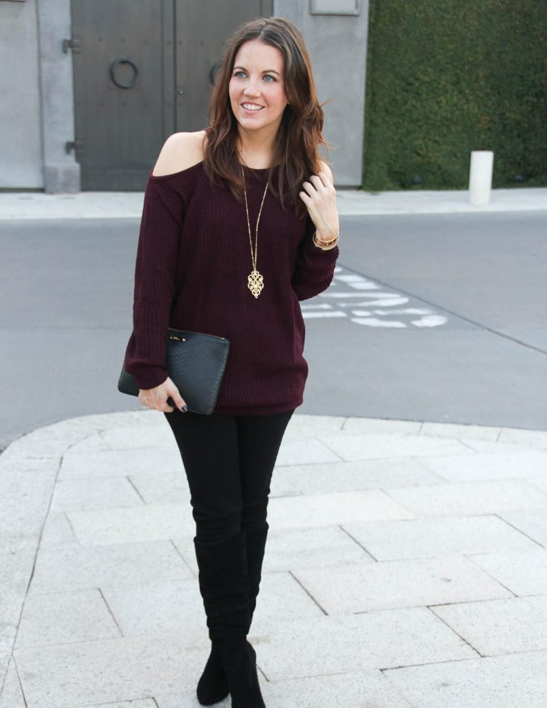 Holiday Outfit Idea | Cold Shoulder Sweater | Black Suede Boots | Houston Fashion Blogger Lady in Violet