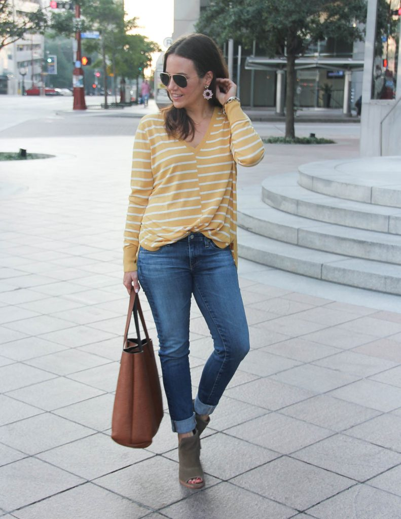 Casual Fall Outfit | Yellow Sweater | Brown Peep Toe Booties | Houston Fashion Blogger Lady in Violet