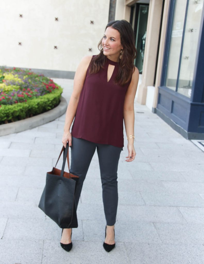 Fall Work Outfit | Burgundy Top | Gray Pants | Houston Fashion Blog Lady in Violet