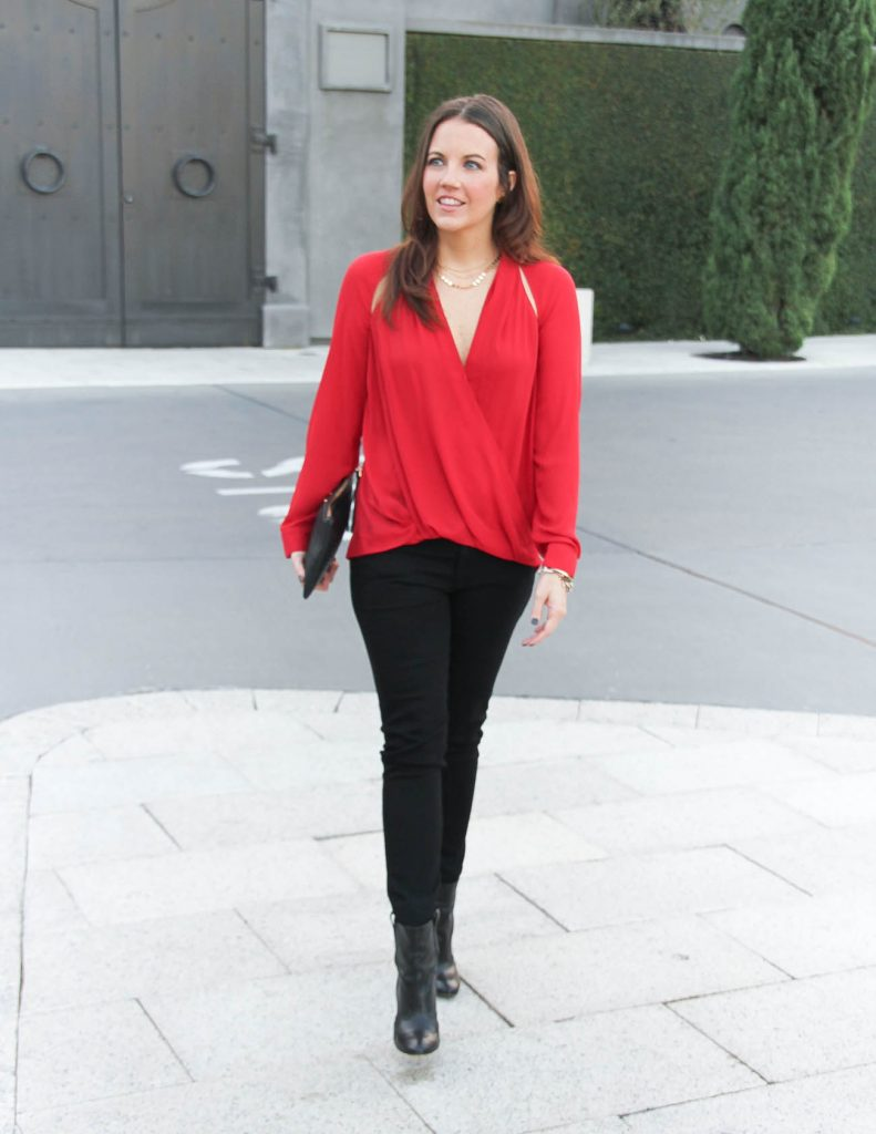 Holiday Outfit | Red Blouse | Black Jeans | Lady in Violet Fashion Blog