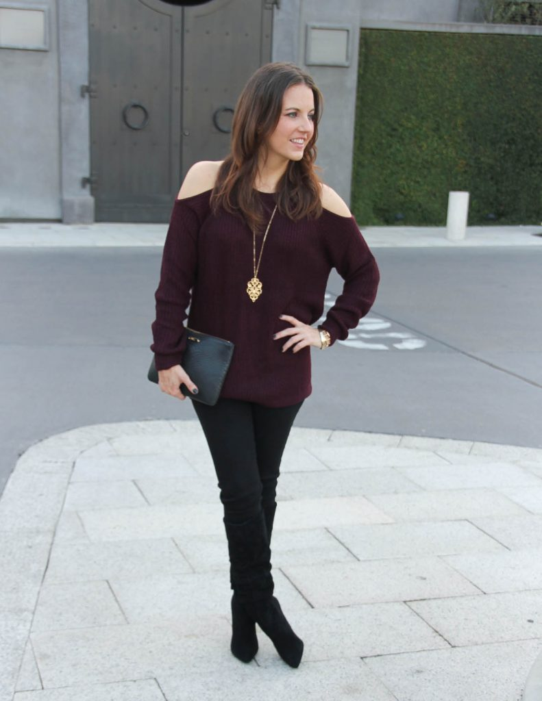 Thanksgiving Outfit Idea | Cold Shoulder Sweater | Black Slouchy Boots | Houston Fashion Blog Lady in Violet