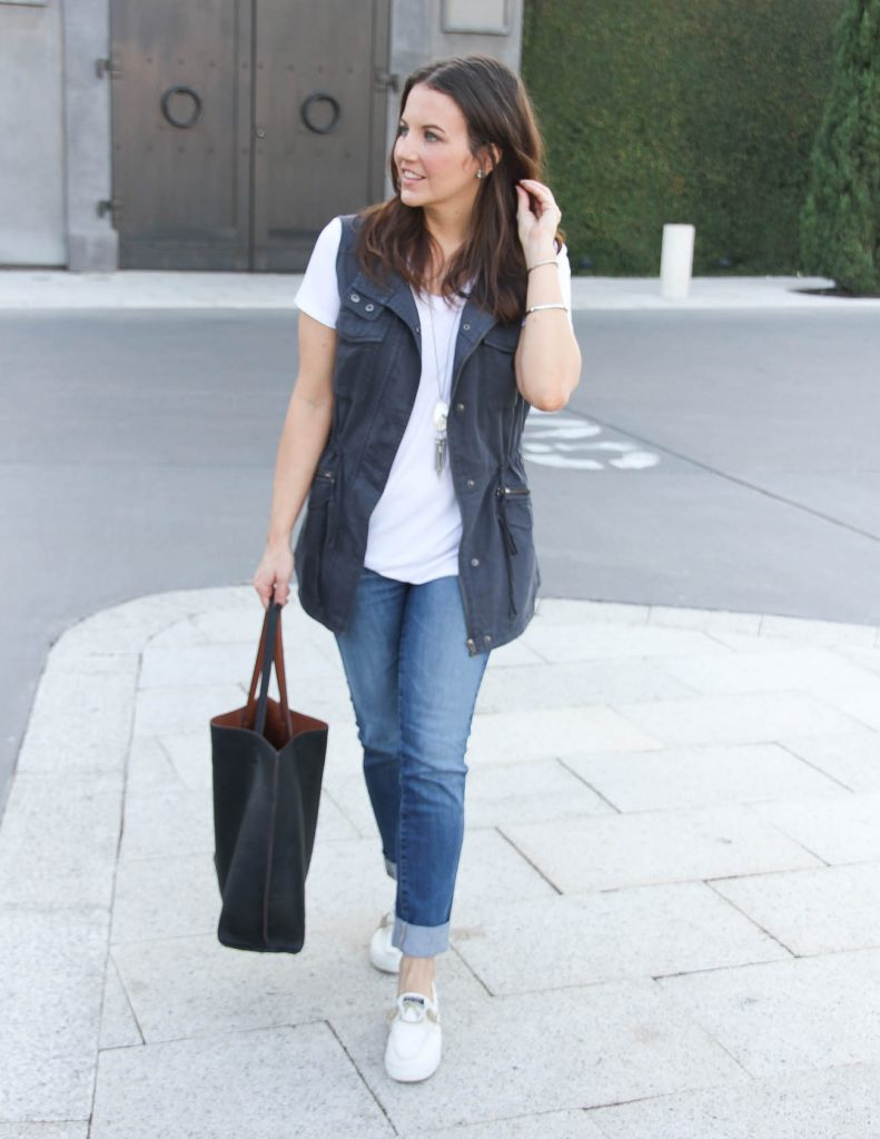 Weekend Outfit | Utility Vest | Cuffed Jeans | Houston Fashion Blogger Lady in Violet