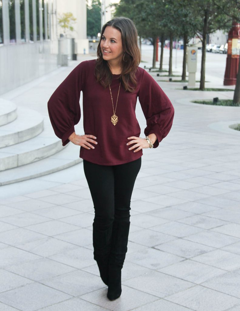 Winter Outfit Idea | Burgundy Bell Sleeve Sweater | Black Tall Boots | Houston Fashion Blog