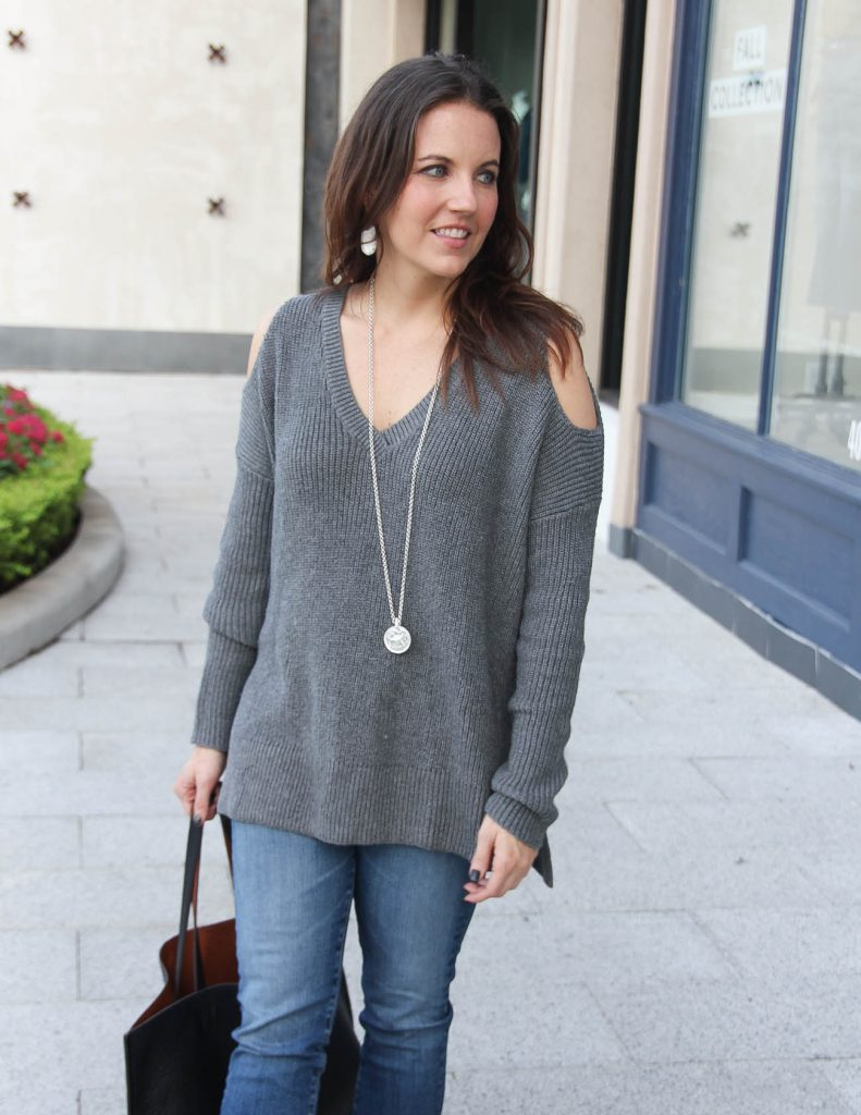 Casual Winter Outfit   Gray Cold Shoulder Sweater   Houston Fashion Blogger