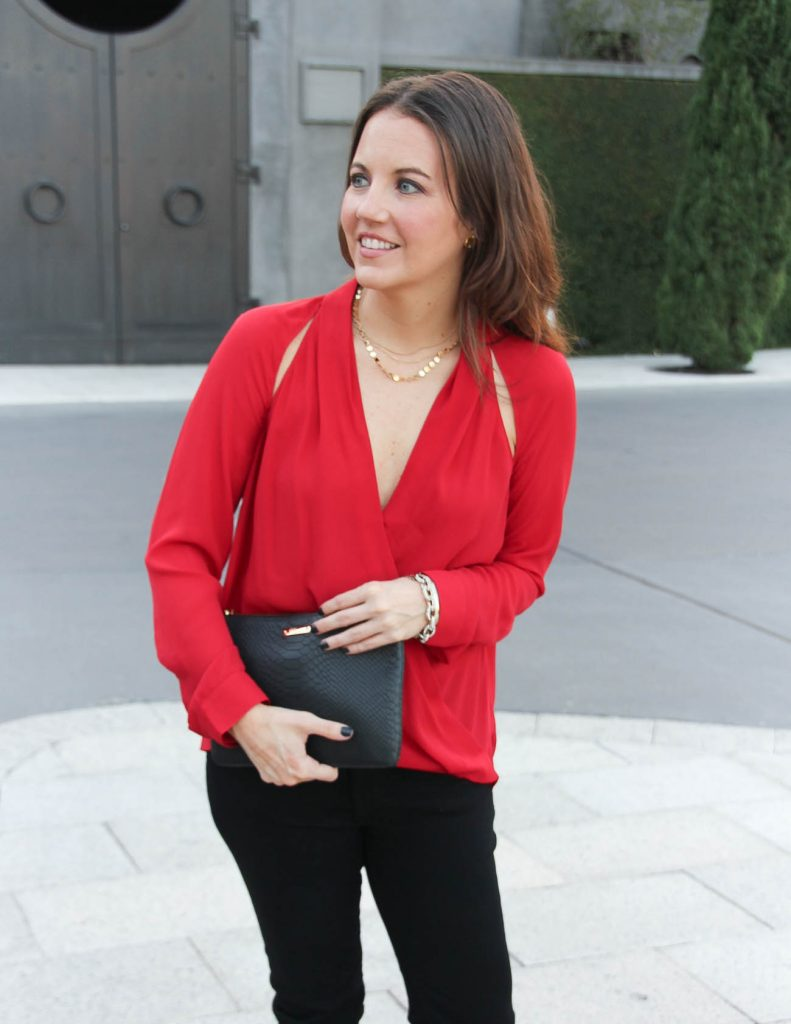 Christmas Party Outfit | Red Long Sleeve Blouse | Black Clutch | Houston Fashion Blog Lady in Violet