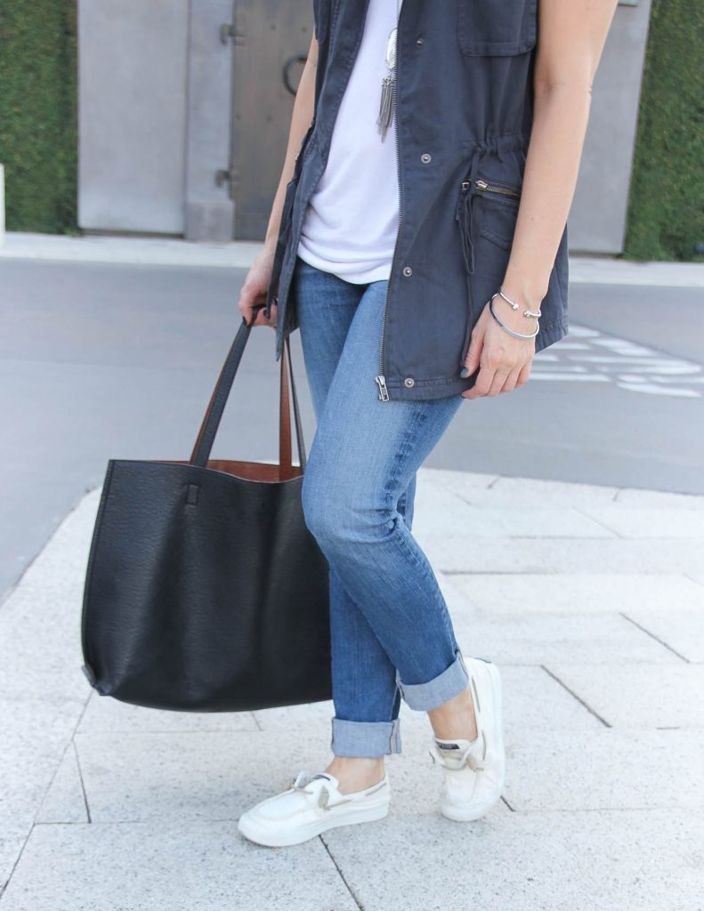 Fall Outfit | Cuffed Jeans | White Sneakers | Houston Fashion Blog Lady in Violet