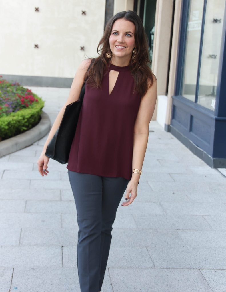 Fall Work Outfit | Burgundy Sleeveless Top | Gray Skinny Pants | Houston Fashion Blog Lady in Violet