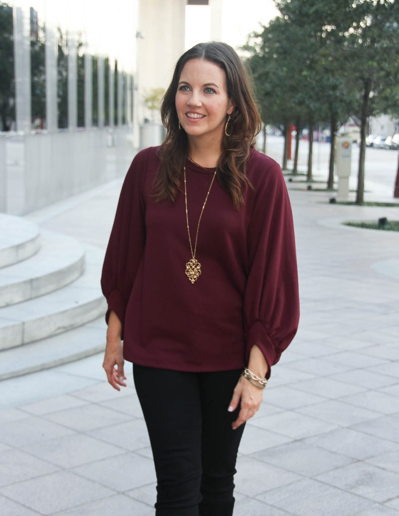 Holiday Party Sweater | Gold Filigree Necklace | Fall Outfit | Lady in Violet Fashion Blog
