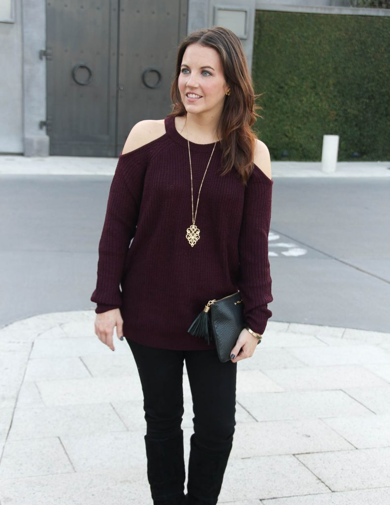 Winter Outfit Idea | Cold Shoulder Sweater | Black Skinny Jeans | Houston Fashion Blog Lady in Violet