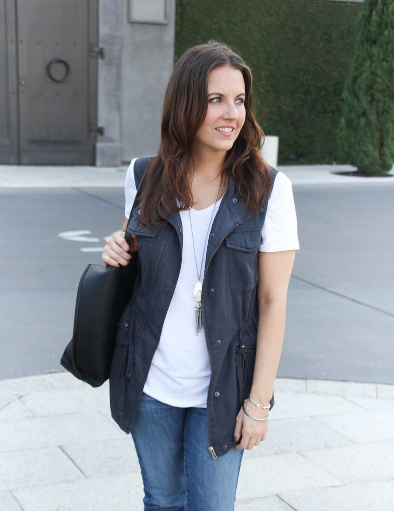 Casual Weekend Outfit | Gray Utility Vest | White Tee | Houston Fashion Blogger Lady in Violet