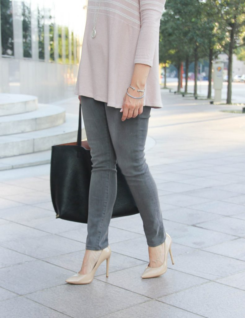 Fall Outfit | Gray Skinny Jeans under $100 | Nude Heels | Houston Fashion Blogger Lady in Violet