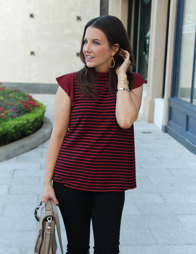 Fall Outfit | Red Striped Top | Gold Hoop Earrings | Houston Fashion Blog Lady in Violet