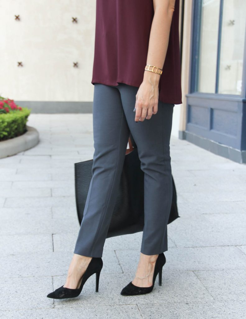 Office Outfit | Gray Work Pants | Comfortable Black Heels | Lady in Violet Fashion Blog