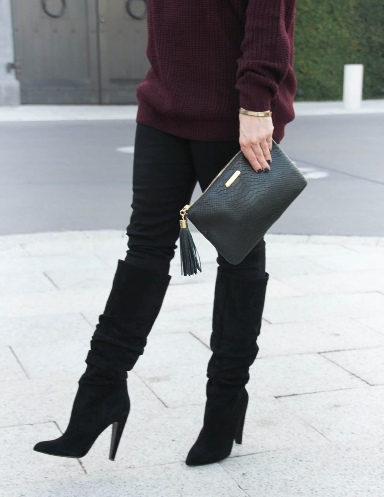 Suede Black Slouchy Boots | Hudson Jeans | Winter Outfit | Lady in Violet Fashion Blog