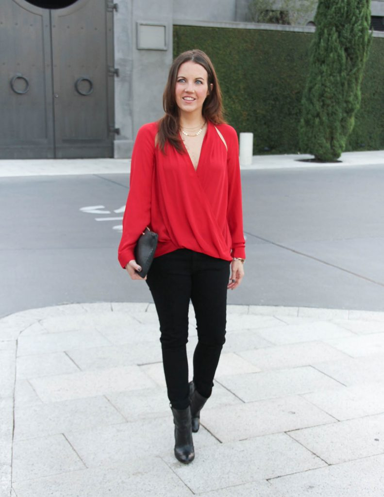 Date night Outfit | Red Open Shoulder Top | Black Skinny Jeans | Houston Fashion Blogger Lady in Violet