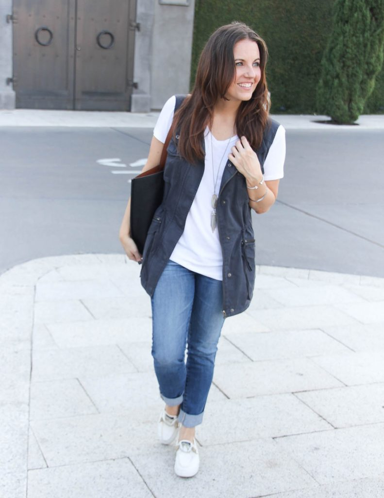 Fall Fashion | White Tshirt | Cuffed Jeans | Houston Fashion Blogger Lady in Violet