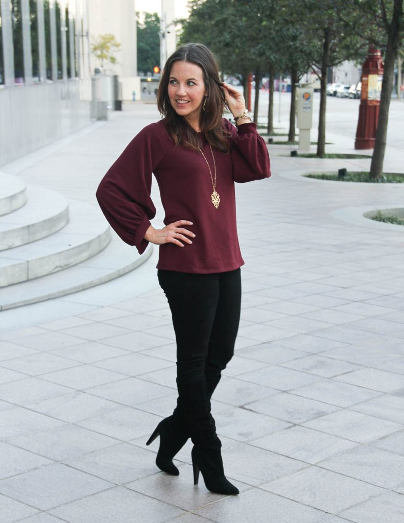Fall Outfit | Holiday Party Outfit | Burgundy Sweater | Lady in Violet Fashion Blog