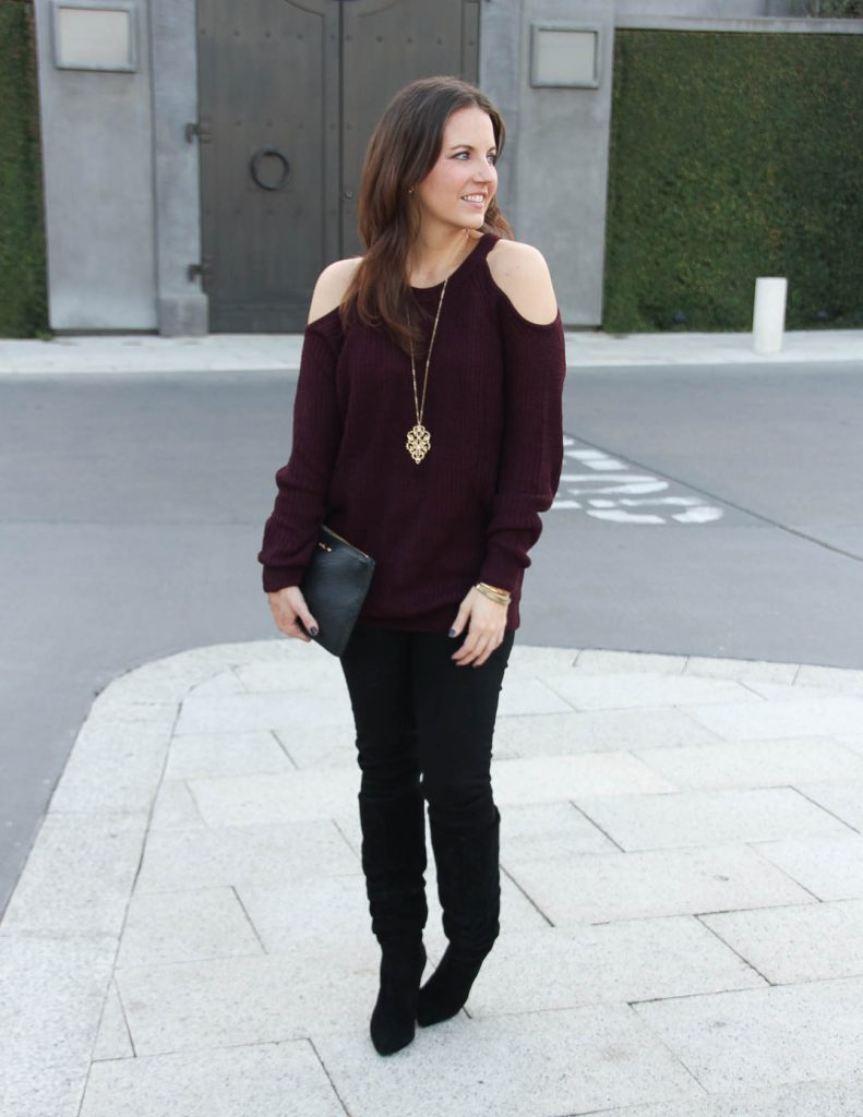 Holiday Party Outfit Idea with Jeans | Cold Shoulder Sweater | Houston Fashion Blog Lady in Violet