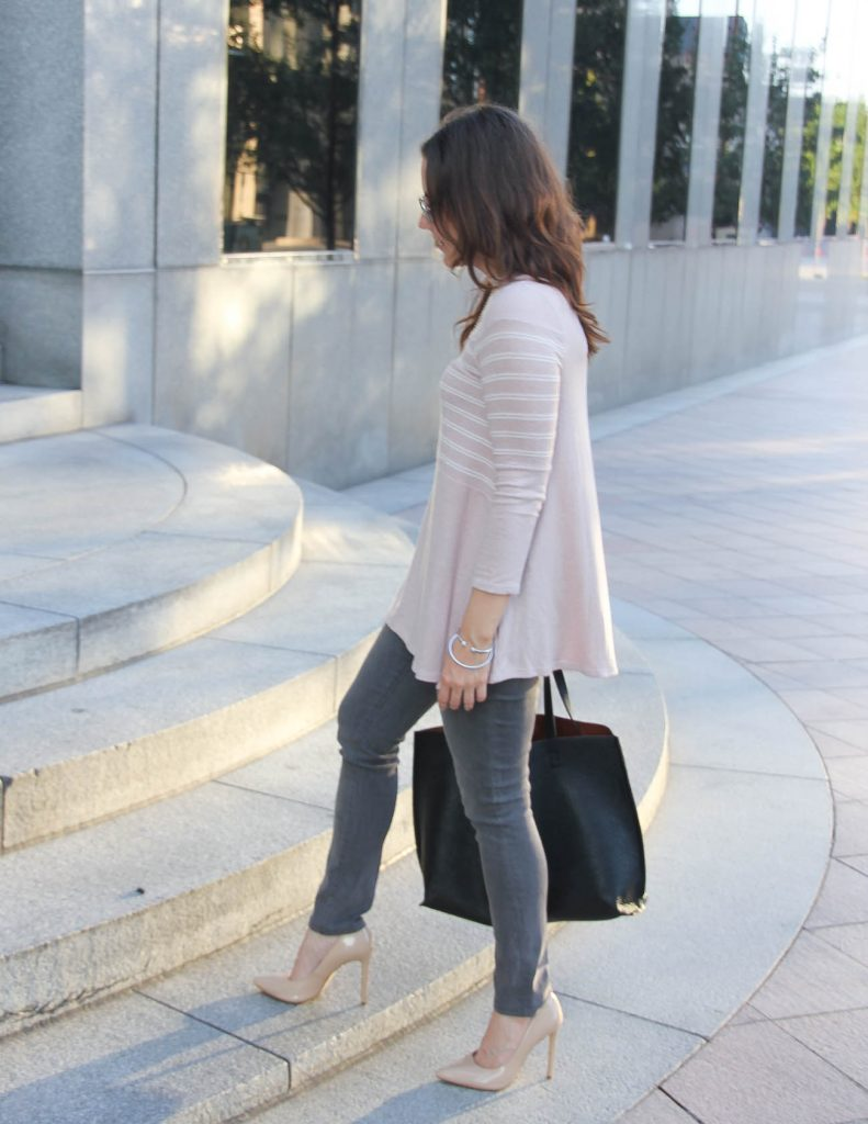 Winter Outfit | Pink Sweater | Gray Jeans | Lady in Violet Fashion Blog