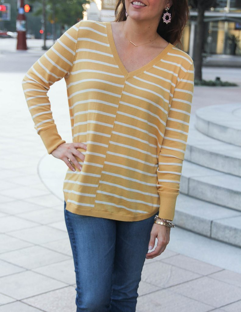 Casual Yellow Sweater for Fall | Baublebar Sugarfix Earrings | Lady in Violet Fashion Blog