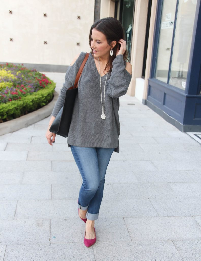 Casual Fall Outfit | Gray Sweater | Pink Flats | Houston Fashion Blogger Lady in Violet