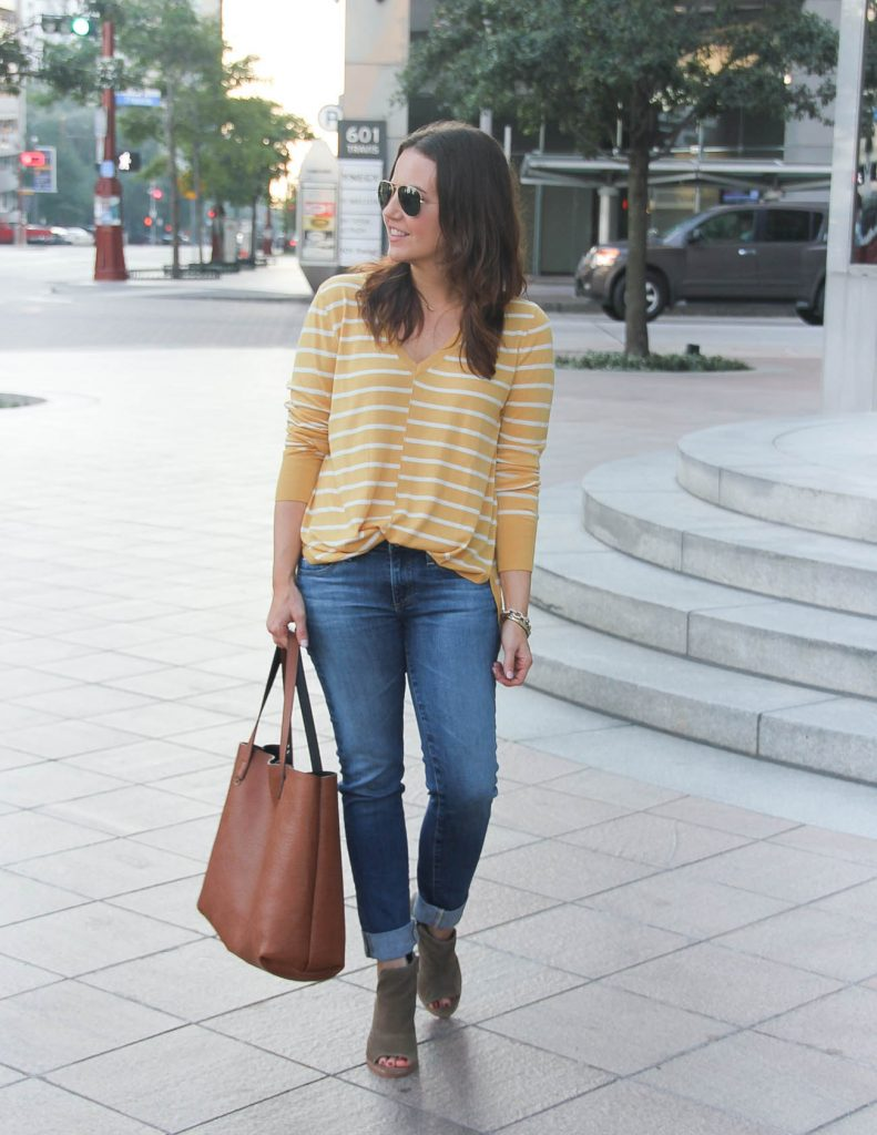 Casual Fall Outfit Idea | Yellow Striped Sweater | Brown Booties | Lady in Violet Fashion Blog