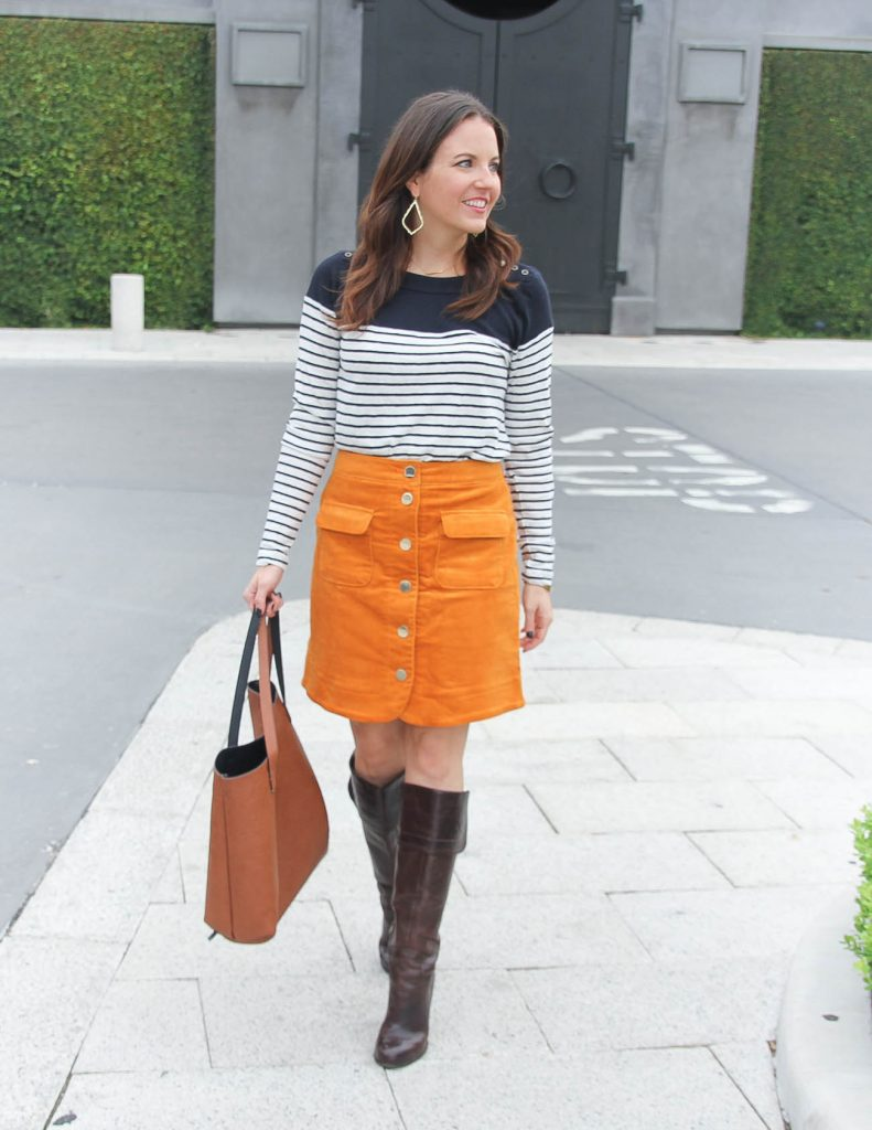 Fall Outfit | Corduroy Skirt | Striped Lon Sleeve Tee | Houston Fashion Blog Lady in Violet