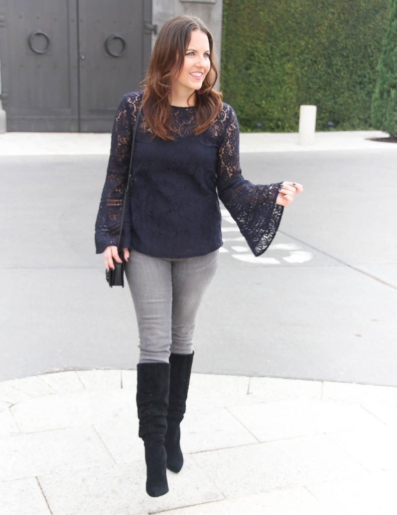 Fall Outfit | Navy Lace Top | Gray Jeans | Houston Fashion Blogger Lady in Violet