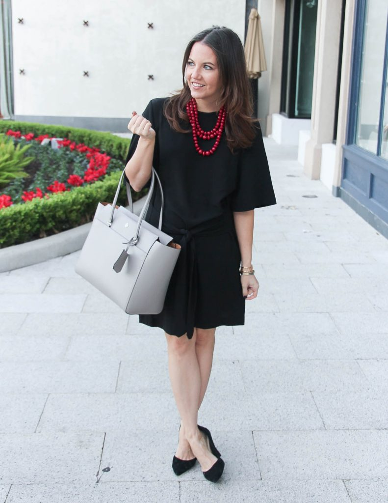Work Wear | Black Dress | Gray Satchel Tote Bag | Houston Fashion Blogger Lady in Violet
