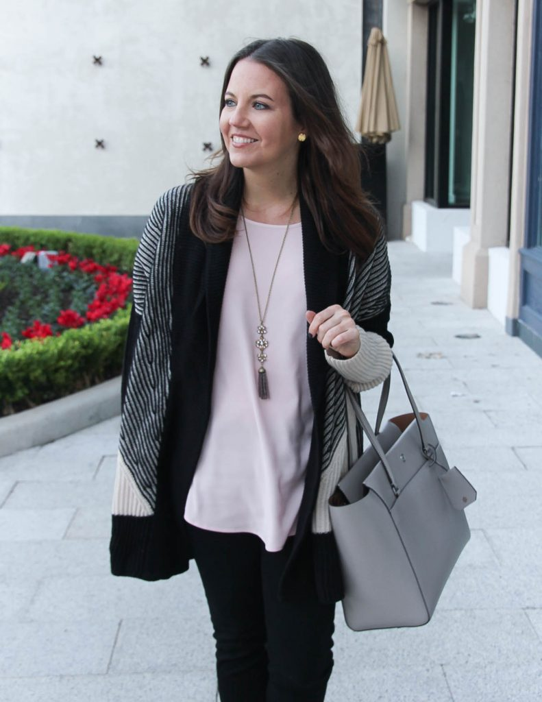 Casual Outfit | Blush Pink Blouse | Chunky Knit Cardigan | Houston Fashion Blogger Lady in Violet