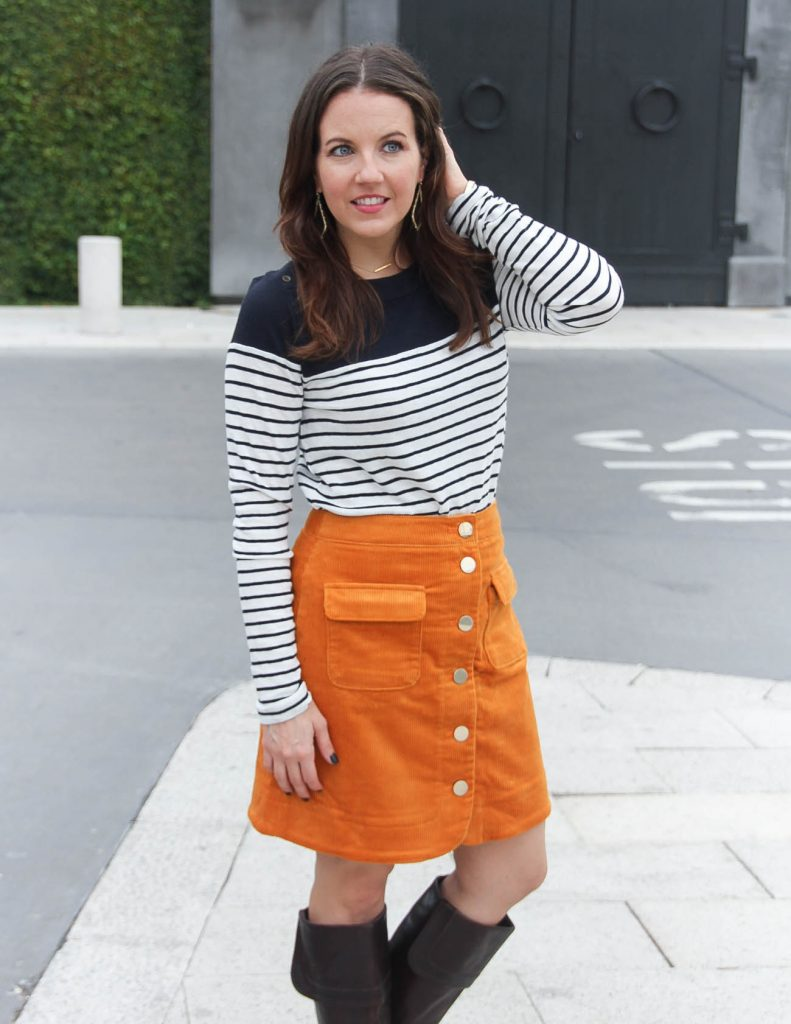 How to Style a Corduroy Skirt for Fall | Houston Fashion Blogger Lady in Violet