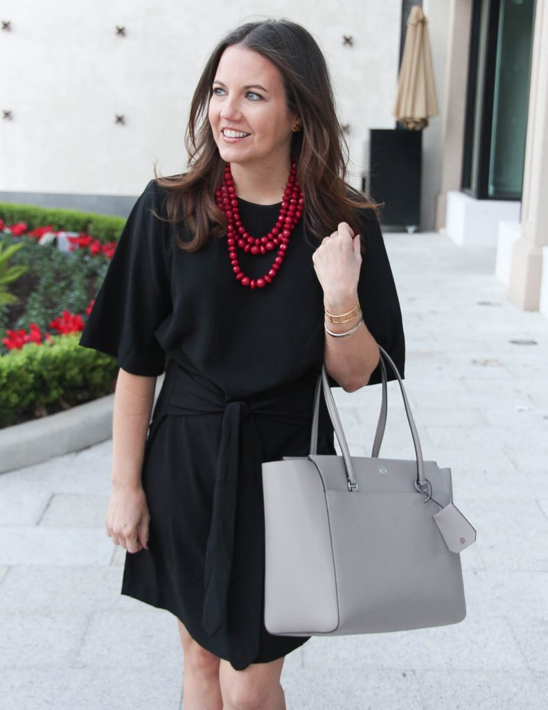 Office Outfit | Black Dress | Tory Burch Purse | Houston Fashion Blogger Lady in Violet