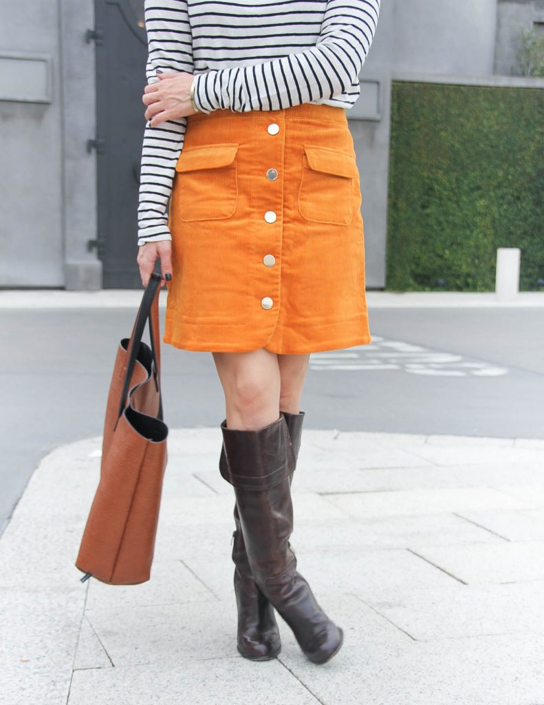 Fall Outfit | Corduroy Skirt with Boots | Houston Fashion Blog Lady in Violet