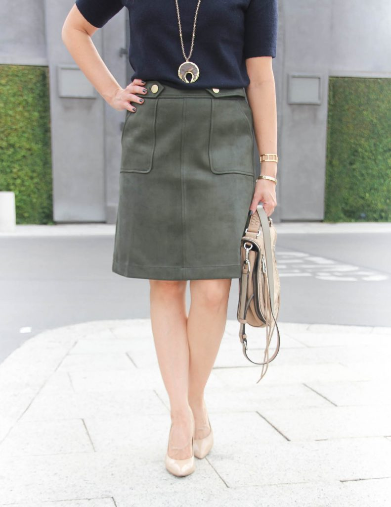 Fall Work Wear | Olive Suede Skirt | Stone Pendant Necklace | Houston Fashion Blog Lady in Violet