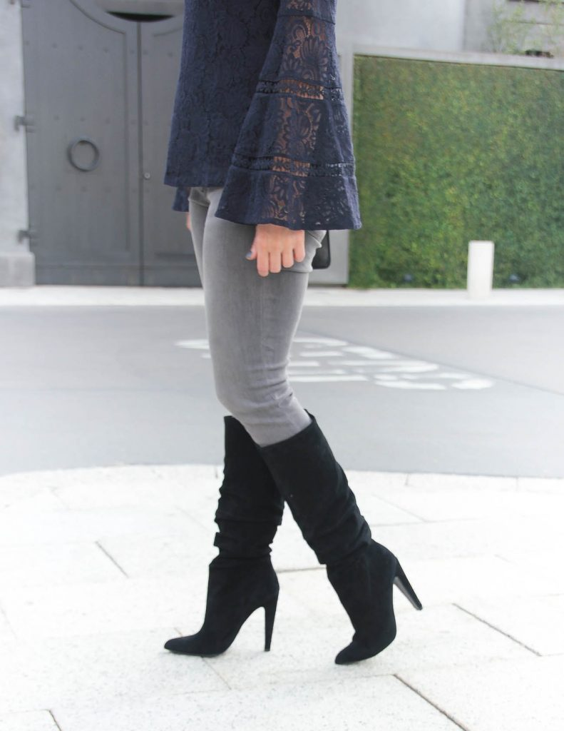 Winter Outfit | Black Suede Boots | Gray Skinny Jeans | Houston Fashion Blogger Lady in Violet
