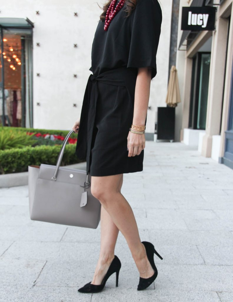 Workwear Basics | Black Dress | Tory Burch Parker Tote | Houston Fashion Blogger Lady in Violet