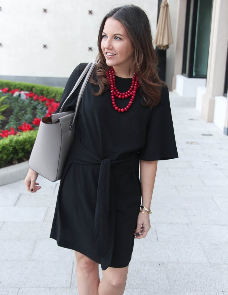Black Work Dress | Burgundy Beaded Necklace | Fall Outfit | Houston Fashion Blogger Lady in Violet