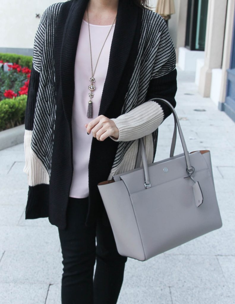 Cozy Winter Outfit | Striped Cardigan | Tory Burch Parker Tote Bag | Houston Fashion Blogger Lady in Violet